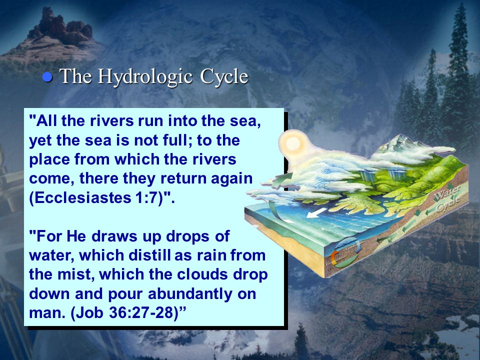 The Hydrologic Cycle The Hydrologic Cycle All the rivers run into the sea, yet the sea is not full; to the place from which the rivers come, there they return again (Ecclesiastes 1:7) .