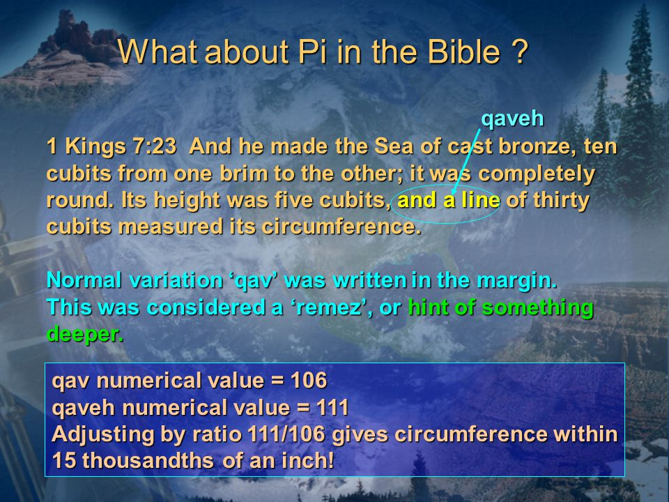 What about Pi in the Bible .