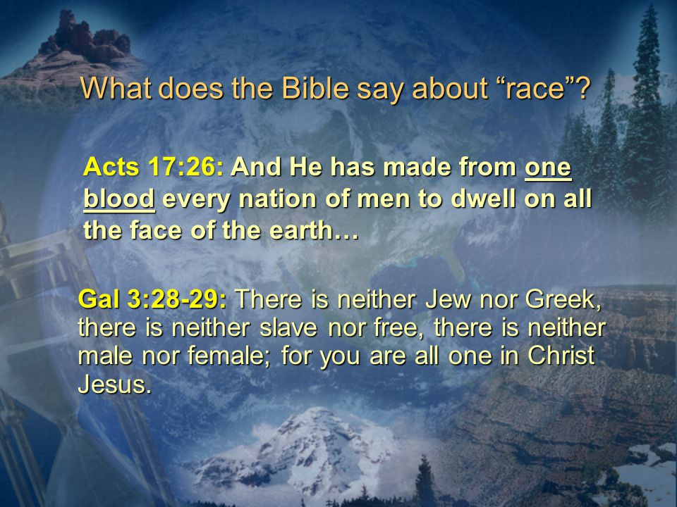 What does the Bible say about race .