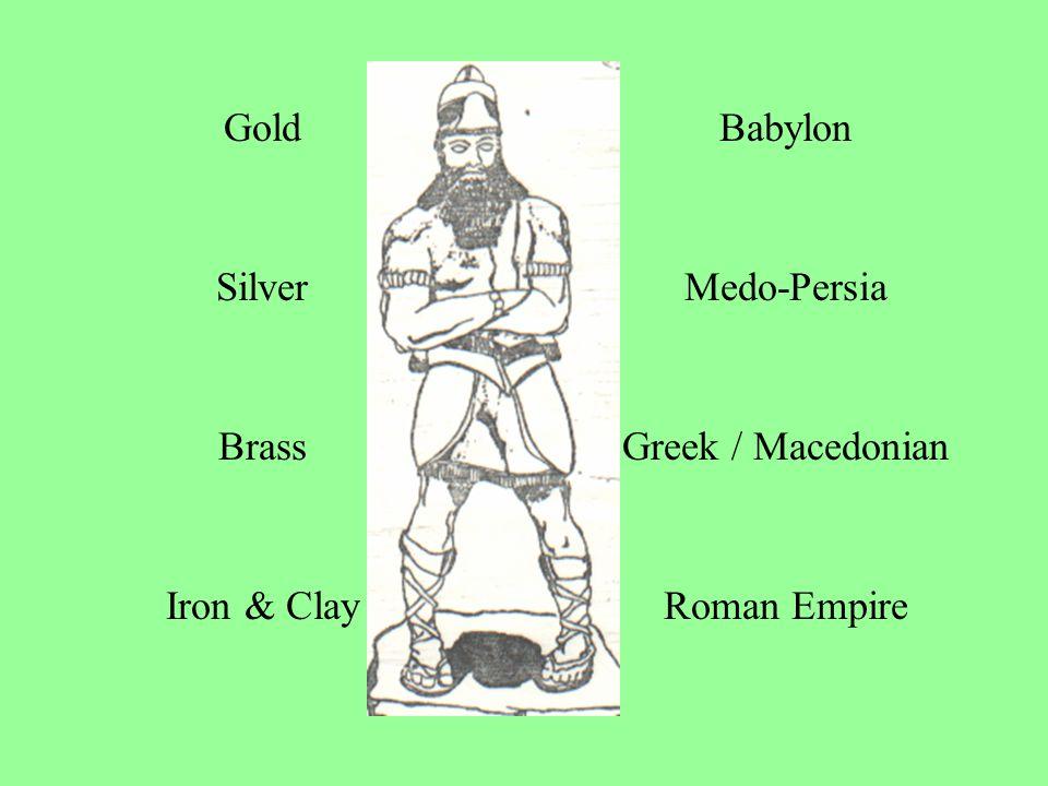 GoldBabylon SilverMedo-Persia BrassGreek / Macedonian Iron & ClayRoman Empire