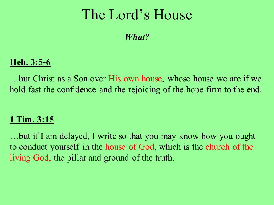 The Lord's House What. Heb.