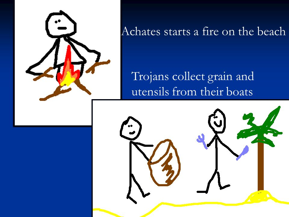 Achates starts a fire on the beach Trojans collect grain and utensils from their boats