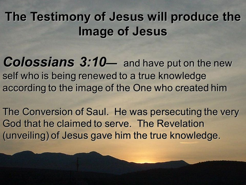The Testimony of Jesus will produce the Image of Jesus Colossians 3:10 — and have put on the new self who is being renewed to a true knowledge according to the image of the One who created him The Conversion of Saul.