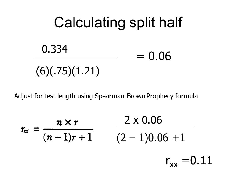 Calculating split half 0.334 (6)(.75)(1.21) = 0.06 Adjust for test length using Spearman-Brown Prophecy formula 2 x 0.06 (2 – 1)0.06 +1 r xx =0.11
