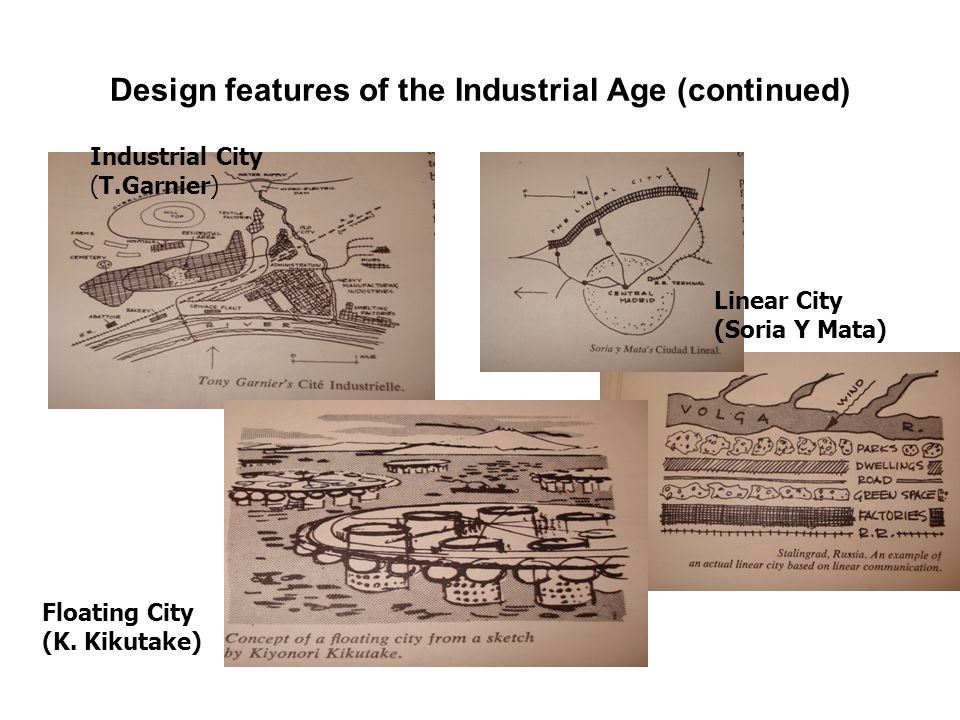 Design features of the Industrial Age (continued) Industrial City (T.Garnier) Linear City (Soria Y Mata) Floating City (K.