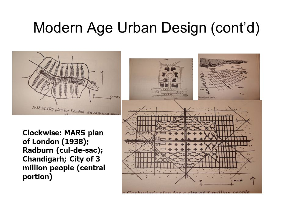 Modern Age Urban Design (cont'd) Clockwise: MARS plan of London (1938); Radburn (cul-de-sac); Chandigarh; City of 3 million people (central portion)