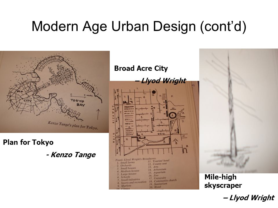 Modern Age Urban Design (cont'd) Plan for Tokyo - Kenzo Tange Broad Acre City – Llyod Wright Mile-high skyscraper – Llyod Wright