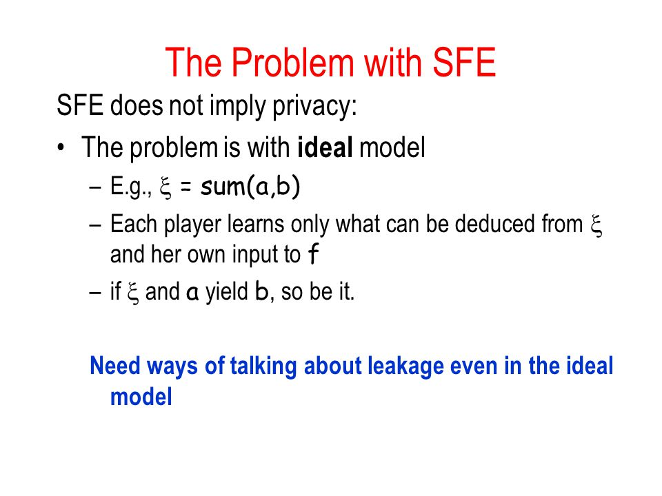 The Problem with SFE SFE does not imply privacy: The problem is with ideal model –E.g.,  = sum(a,b) –Each player learns only what can be deduced from  and her own input to f –if  and a yield b, so be it.