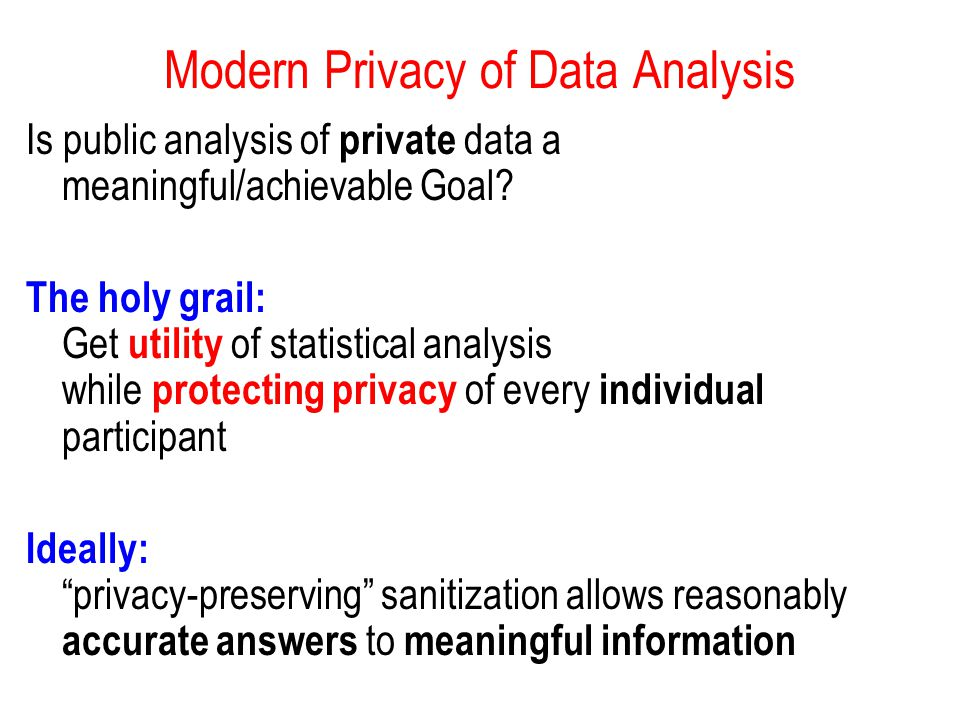 Modern Privacy of Data Analysis Is public analysis of private data a meaningful/achievable Goal.