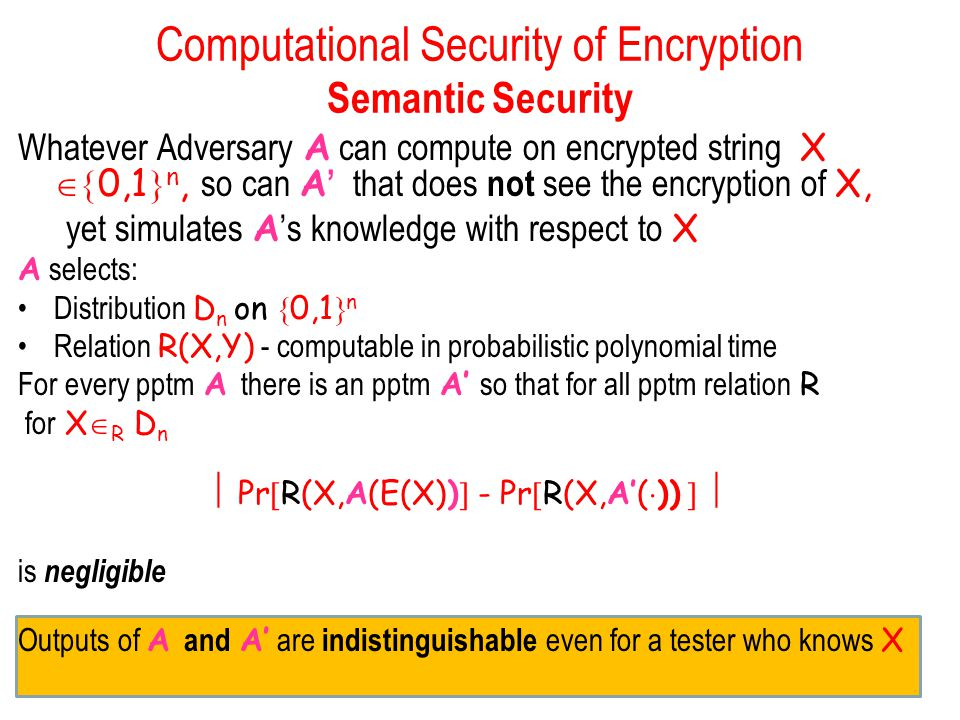 Computational Security of Encryption Semantic Security Whatever Adversary A can compute on encrypted string X  0,1  n, so can A ' that does not see the encryption of X, yet simulates A 's knowledge with respect to X A selects: Distribution D n on  0,1  n Relation R(X,Y) - computable in probabilistic polynomial time For every pptm A there is an pptm A' so that for all pptm relation R for X  R D n  Pr  R(X,A(E(X))  - Pr  R(X,A'(  ))   is negligible Outputs of A and A' are indistinguishable even for a tester who knows X