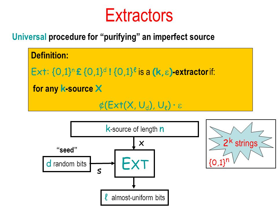 Extractors Universal procedure for purifying an imperfect source Definition: Ext: {0,1} n £ {0,1} d .