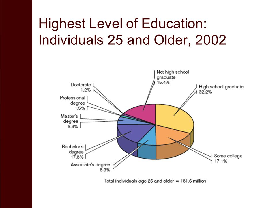 Highest Level of Education: Individuals 25 and Older, 2002