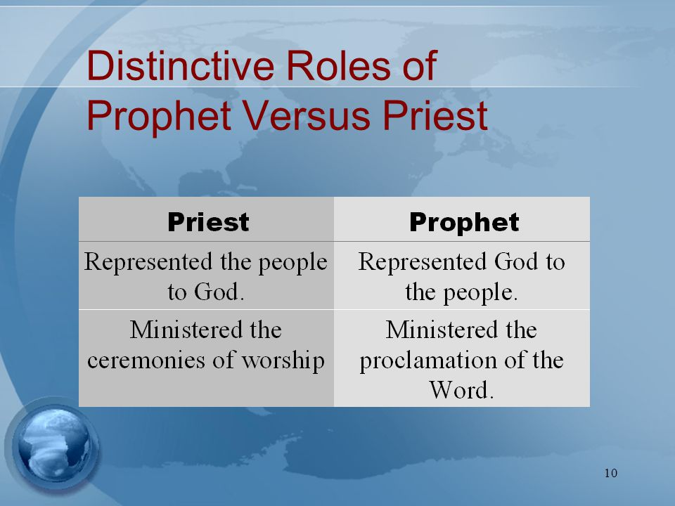 10 Distinctive Roles of Prophet Versus Priest