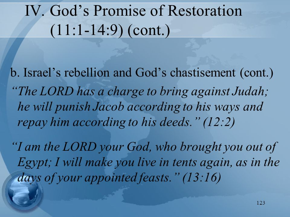 "123 b. Israel's rebellion and God's chastisement (cont.) ""The LORD has a charge to bring against Judah; he will punish Jacob according to his ways and"