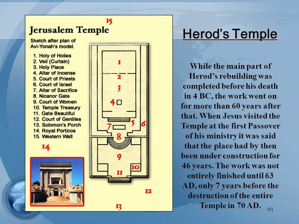 91 Herod's Temple While the main part of Herod's rebuilding was completed before his death in 4 BC, the work went on for more than 60 years after that.