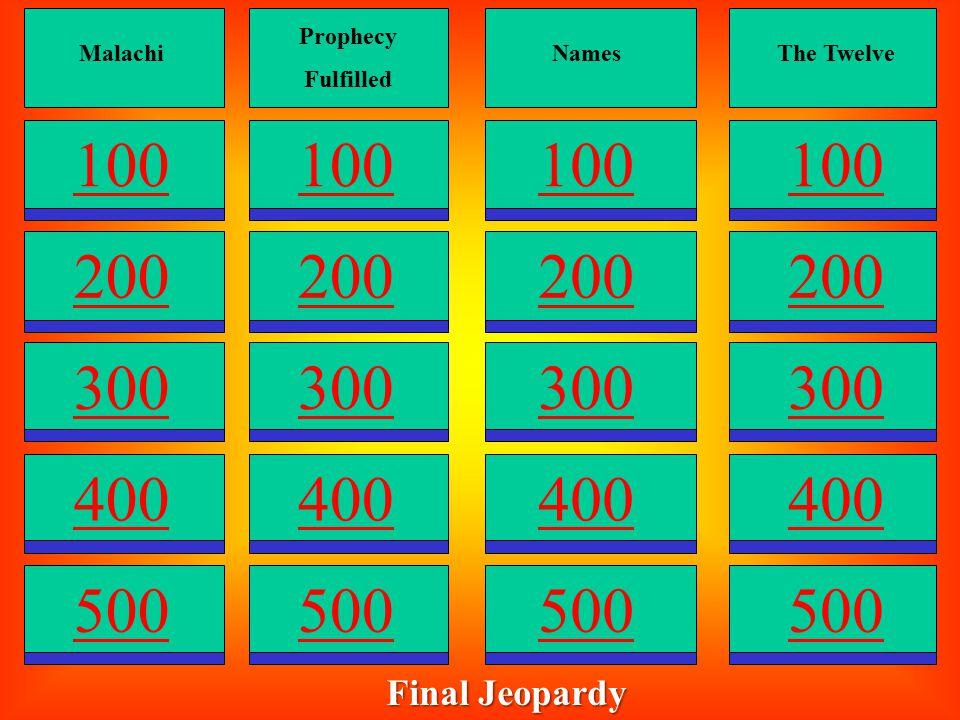 Prophecy Fulfilled 300 400 500 100 200 Names 300 400 500 100 200 The Twelve 300 400 500 100 200 Apostles 300 400 500 100 200 Malachi 300 400 500 100 2