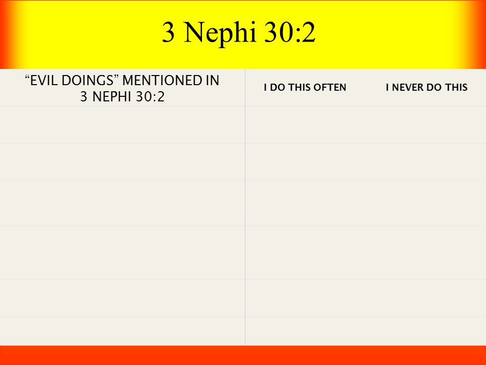 EVIL DOINGS MENTIONED IN 3 NEPHI 30:2 I DO THIS OFTEN I NEVER DO THIS