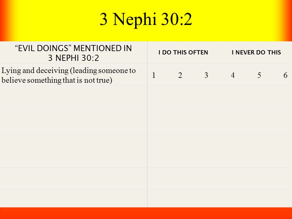 3 Nephi 30:2 EVIL DOINGS MENTIONED IN 3 NEPHI 30:2 I DO THIS OFTEN I NEVER DO THIS Lying and deceiving (leading someone to believe something that is not true) 1 2 3 4 5 6