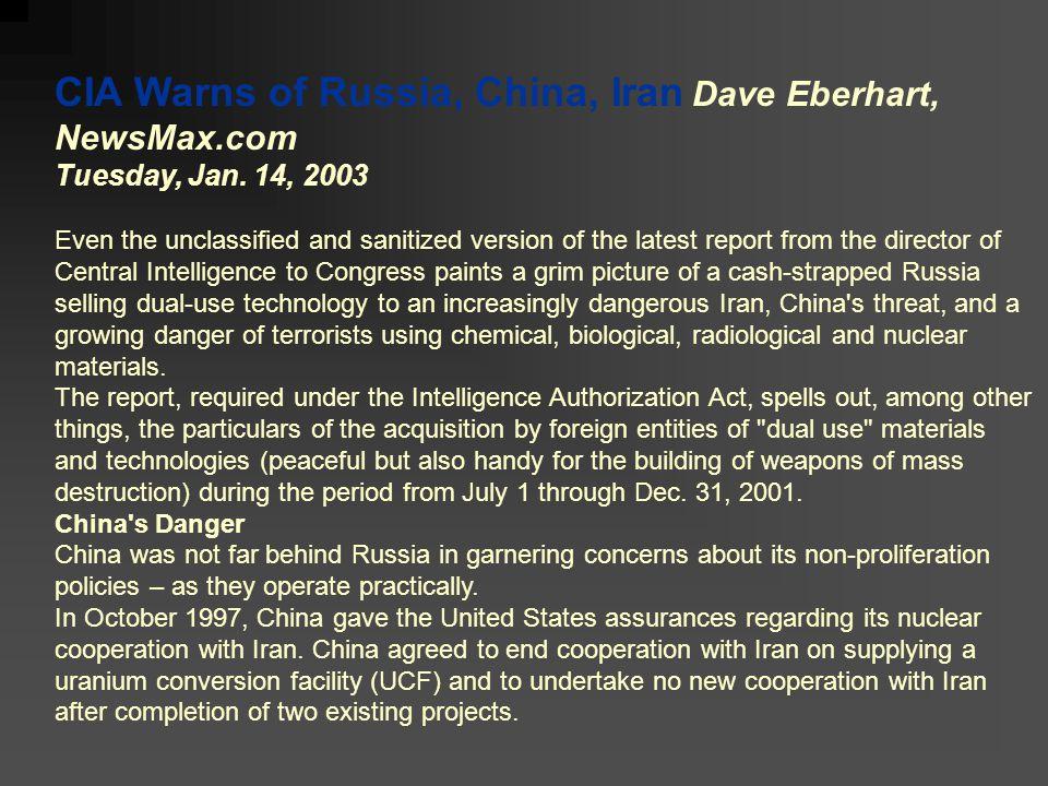CIA Warns of Russia, China, Iran Dave Eberhart, NewsMax.com Tuesday, Jan.