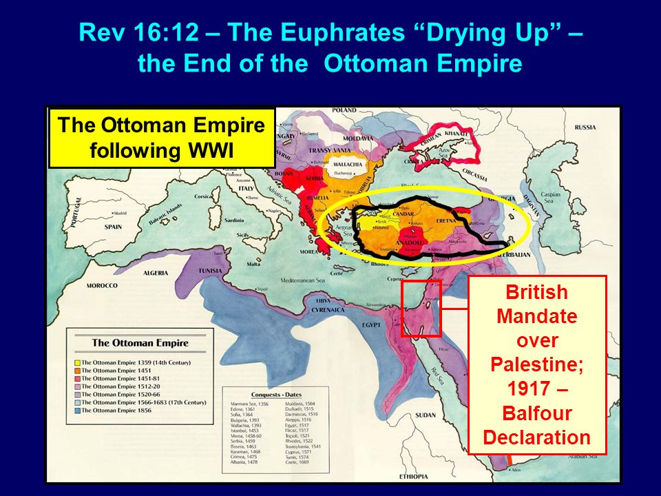 "Rev 16:12 – The Euphrates ""Drying Up"" – the End of the Ottoman Empire The Ottoman Empire following WWI British Mandate over Palestine; 1917 – Balfour"