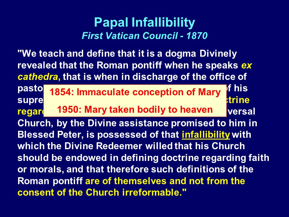 Papal Infallibility First Vatican Council - 1870