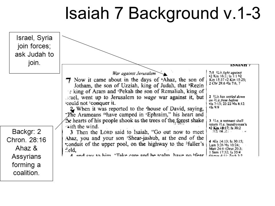 Isaiah 7 Background v.1-3 Israel, Syria join forces; ask Judah to join. Backgr: 2 Chron. 28:16 Ahaz & Assyrians forming a coalition.