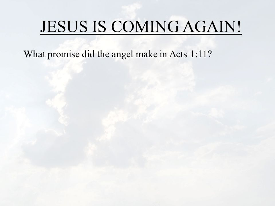 JESUS IS COMING AGAIN! What promise did the angel make in Acts 1:11?