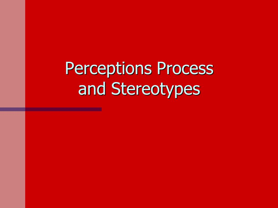Perceptions Process and Stereotypes