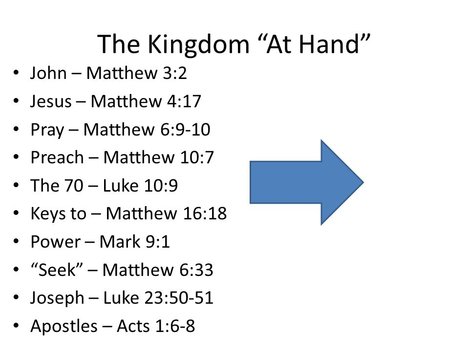The Kingdom At Hand The kingdom was to be a Spiritual Kingdom.