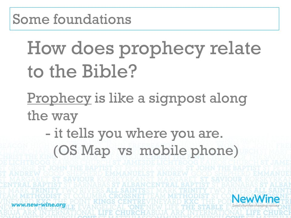 Some foundations How does prophecy relate to the Bible.