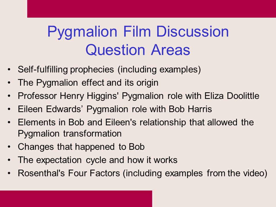Pygmalion Film Discussion Question Areas Self-fulfilling prophecies (including examples) The Pygmalion effect and its origin Professor Henry Higgins'