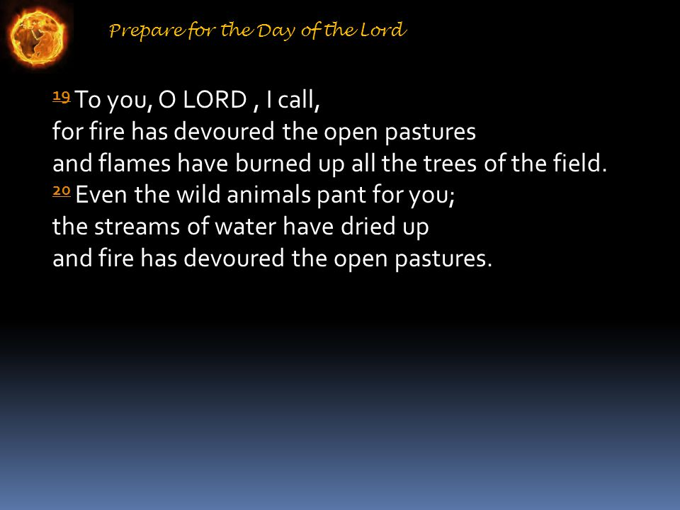 Prepare for the Day of the Lord 19 19 To you, O LORD, I call, for fire has devoured the open pastures and flames have burned up all the trees of the field.