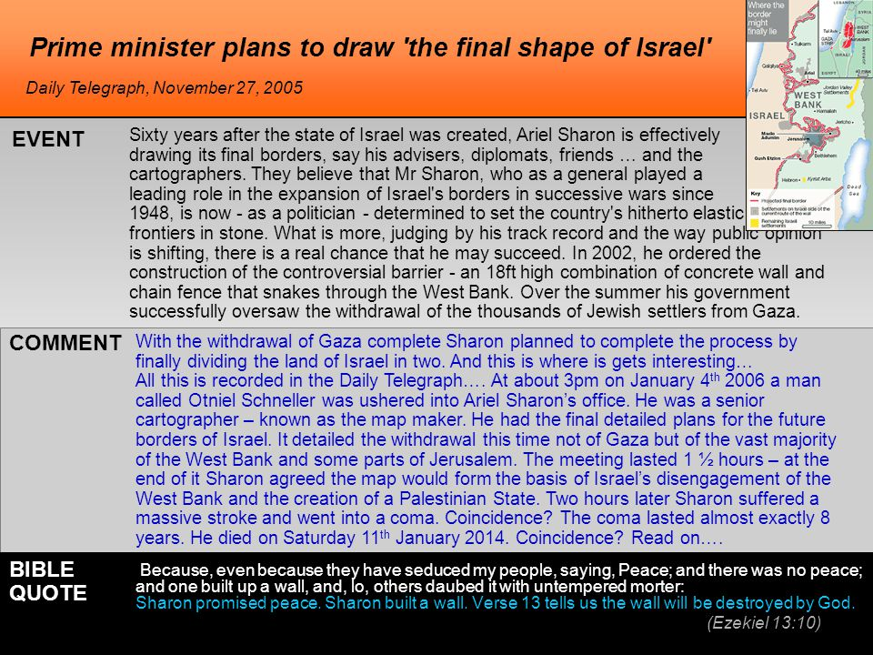 Prime minister plans to draw the final shape of Israel Sixty years after the state of Israel was created, Ariel Sharon is effectively drawing its final borders, say his advisers, diplomats, friends … and the cartographers.