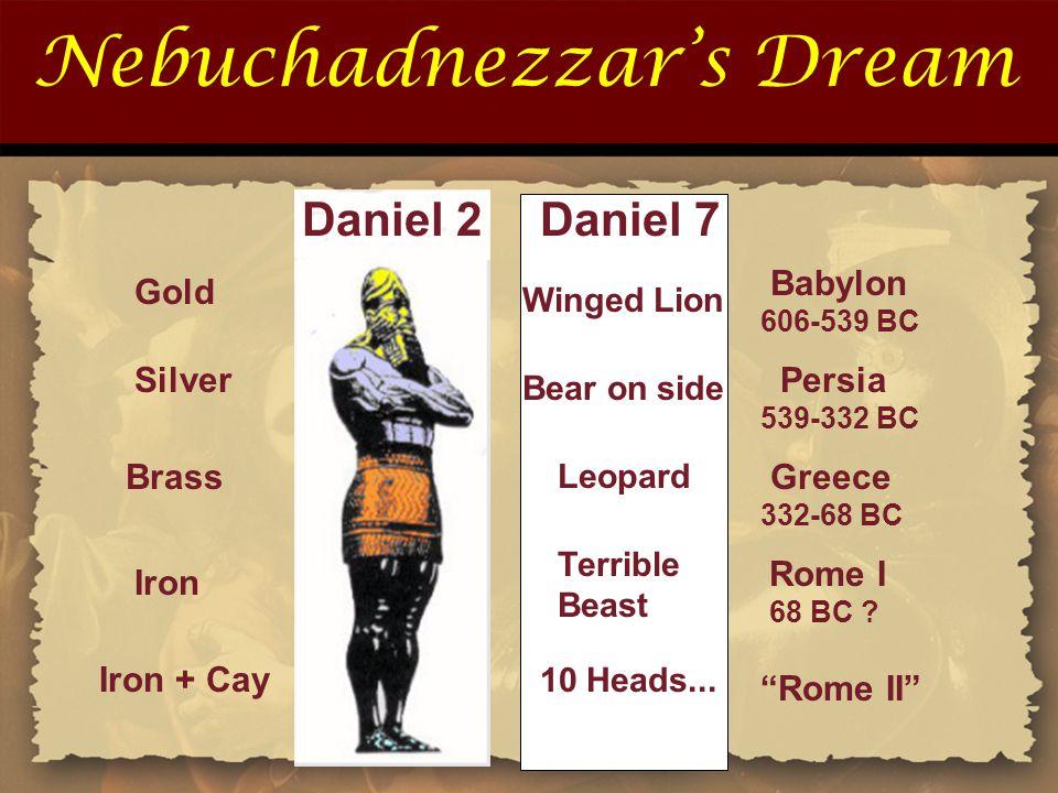"""Nebuchadnezzar's Dream Iron Iron + Cay Rome I 68 BC ? """"Rome II"""" Gold Silver Brass Babylon 606-539 BC Persia 539-332 BC Greece 332-68 BC Daniel 2Daniel"""