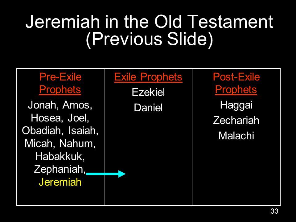 33 Jeremiah in the Old Testament (Previous Slide) Pre-Exile Prophets Jonah, Amos, Hosea, Joel, Obadiah, Isaiah, Micah, Nahum, Habakkuk, Zephaniah, Jeremiah Exile Prophets Ezekiel Daniel Post-Exile Prophets Haggai Zechariah Malachi