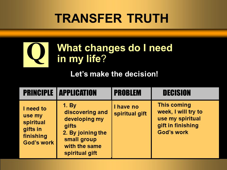 TRANSFER TRUTH What changes do I need in my life.