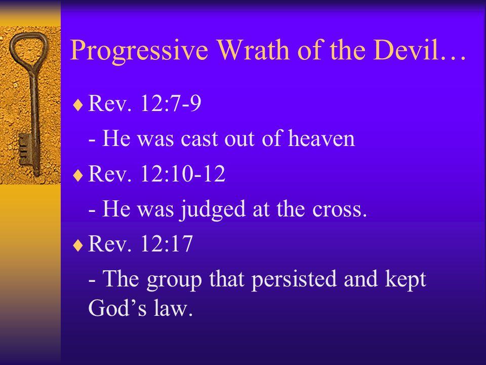 Progressive Wrath of the Devil…  Rev.12:7-9 - He was cast out of heaven  Rev.