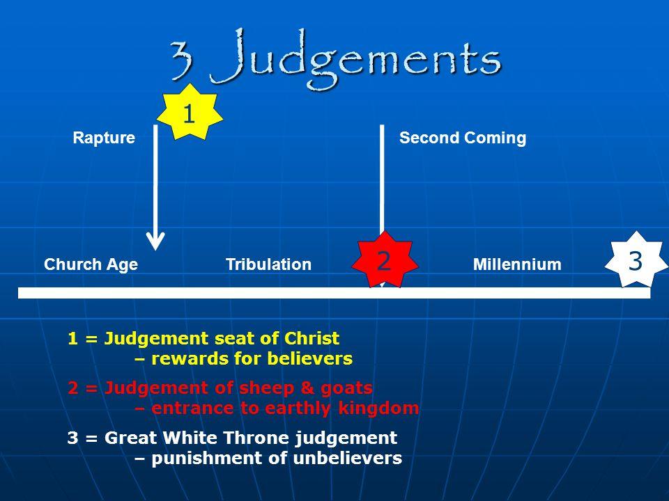 3 Judgements Church Age Rapture Tribulation Second Coming Millennium 1 23 1 = Judgement seat of Christ – rewards for believers 2 = Judgement of sheep