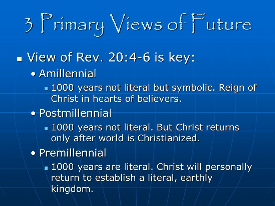 Amillennial View Israel & Church = One people of God Duration unknown Second Coming Messianic Kingdom General resurrection General judgement Eternal