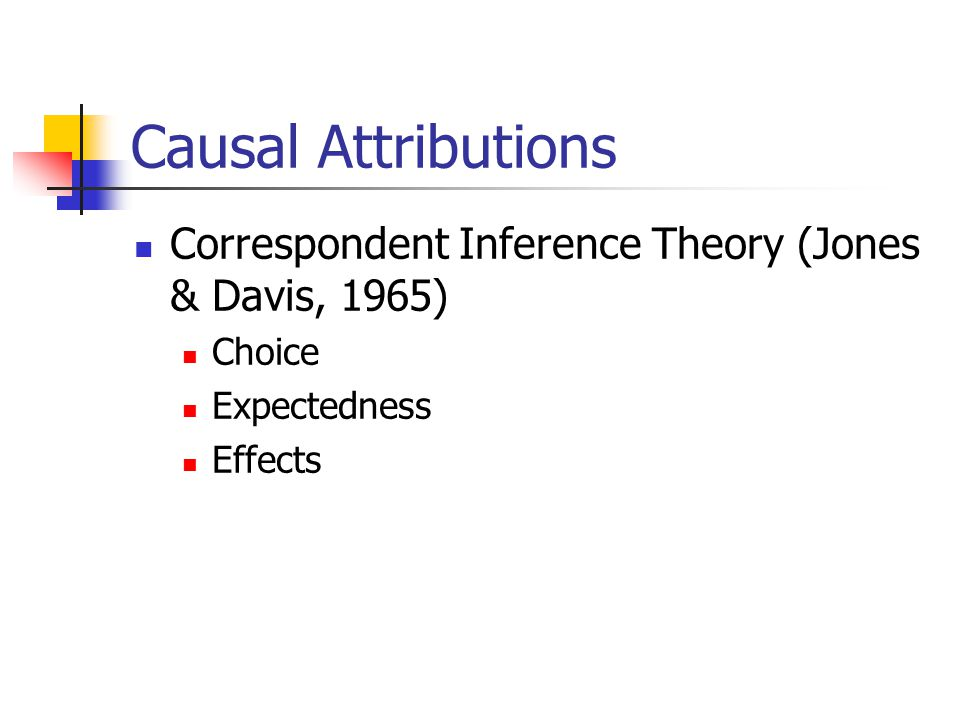 Causal Attributions Correspondent Inference Theory (Jones & Davis, 1965) Choice Expectedness Effects