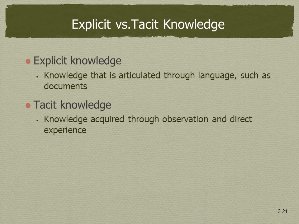 3-21 Explicit vs.Tacit Knowledge Explicit knowledge  Knowledge that is articulated through language, such as documents Tacit knowledge  Knowledge acquired through observation and direct experience