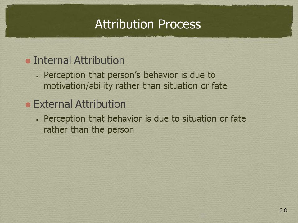 3-8 Attribution Process Internal Attribution  Perception that person's behavior is due to motivation/ability rather than situation or fate External Attribution  Perception that behavior is due to situation or fate rather than the person