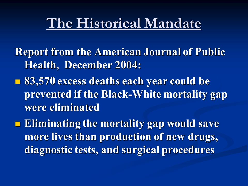 The Historical Mandate Report from the American Journal of Public Health, December 2004: 83,570 excess deaths each year could be prevented if the Blac