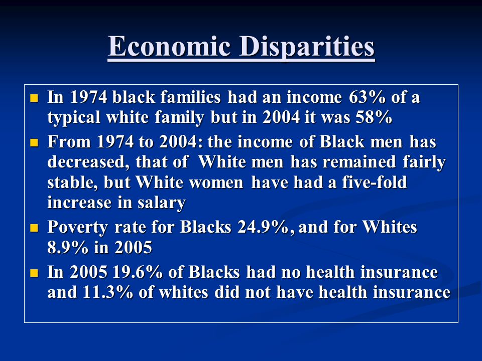 Economic Disparities In 1974 black families had an income 63% of a typical white family but in 2004 it was 58% In 1974 black families had an income 63