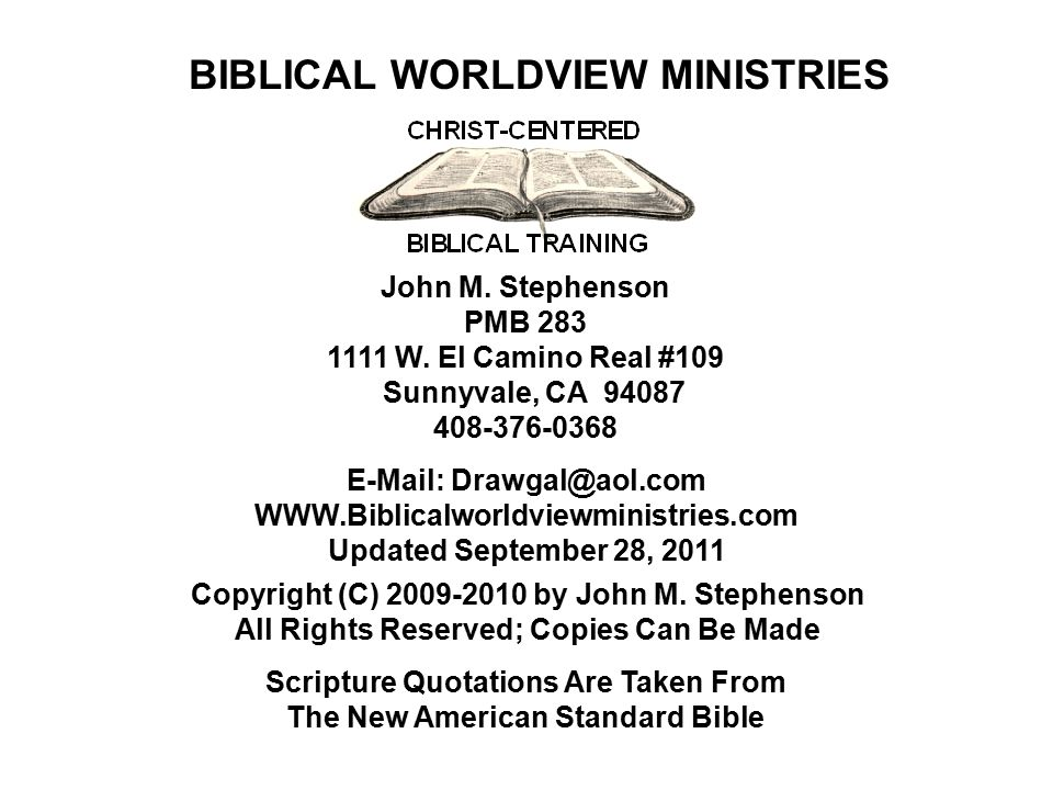 CHRIST- CENTERED BIBLICAL TRAINING If leaders have a different view of Bible prophecy than that presented, they must act urgently anyway as a hedge of being wrong.
