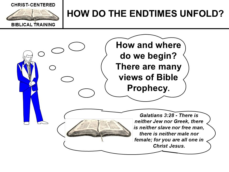 CHRIST- CENTERED BIBLICAL TRAINING ITEMS INVOLVED IN DETERMINING ENDTIMES BIBLE PROPHECY APPROACH TAKEN BY MANY BIBLE INTERPRETERS *Bible prophecy interpreters, to determine their view, generally sequence the Rapture, the endtimes Tribulation, Christ's Second Coming, the 1000 years, whether there is an endtimes Tribulation, and Daniel's seventieth week.