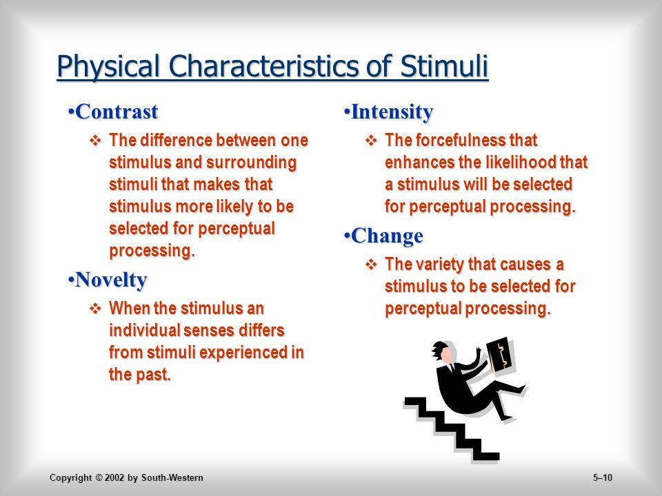Copyright © 2002 by South-Western 5–10 Physical Characteristics of Stimuli ContrastContrast  The difference between one stimulus and surrounding stimuli that makes that stimulus more likely to be selected for perceptual processing.