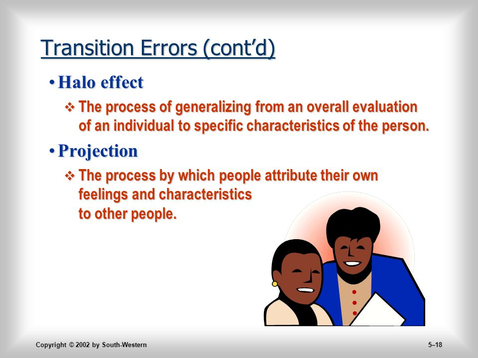 Copyright © 2002 by South-Western 5–18 Transition Errors (cont'd) Halo effectHalo effect  The process of generalizing from an overall evaluation of an individual to specific characteristics of the person.