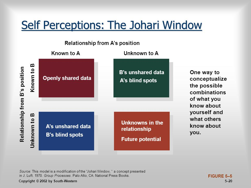 Copyright © 2002 by South-Western 5–20 Self Perceptions: The Johari Window FIGURE 5–5 Openly shared data A's unshared data B's blind spots Unknowns in the relationship Future potential B's unshared data A's blind spots Known to A Relationship from A's position Unknown to A Unknown to B Known to B Relationship from B's position One way to conceptualize the possible combinations of what you know about yourself and what others know about you.