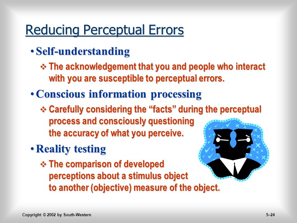 Copyright © 2002 by South-Western 5–24 Reducing Perceptual Errors Self-understandingSelf-understanding  The acknowledgement that you and people who interact with you are susceptible to perceptual errors.